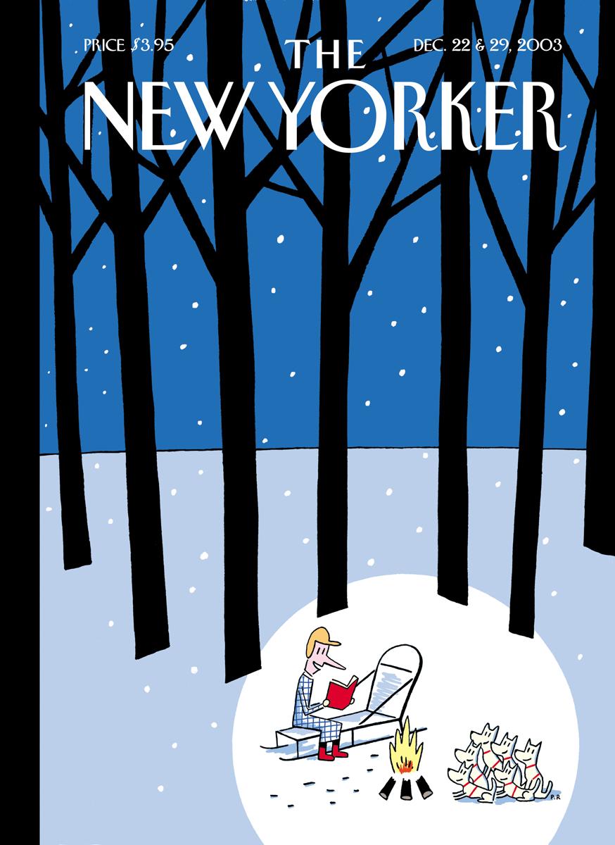 粉雪の降る林で犬ぞりの犬たちに本を読んで聞かせてあげる一場面。ニューヨーカーの表紙です。