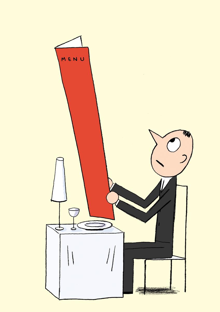 ニューヨーカーのレストラン特集でのひとこま。どんな料理がでてくるんでしょうか?