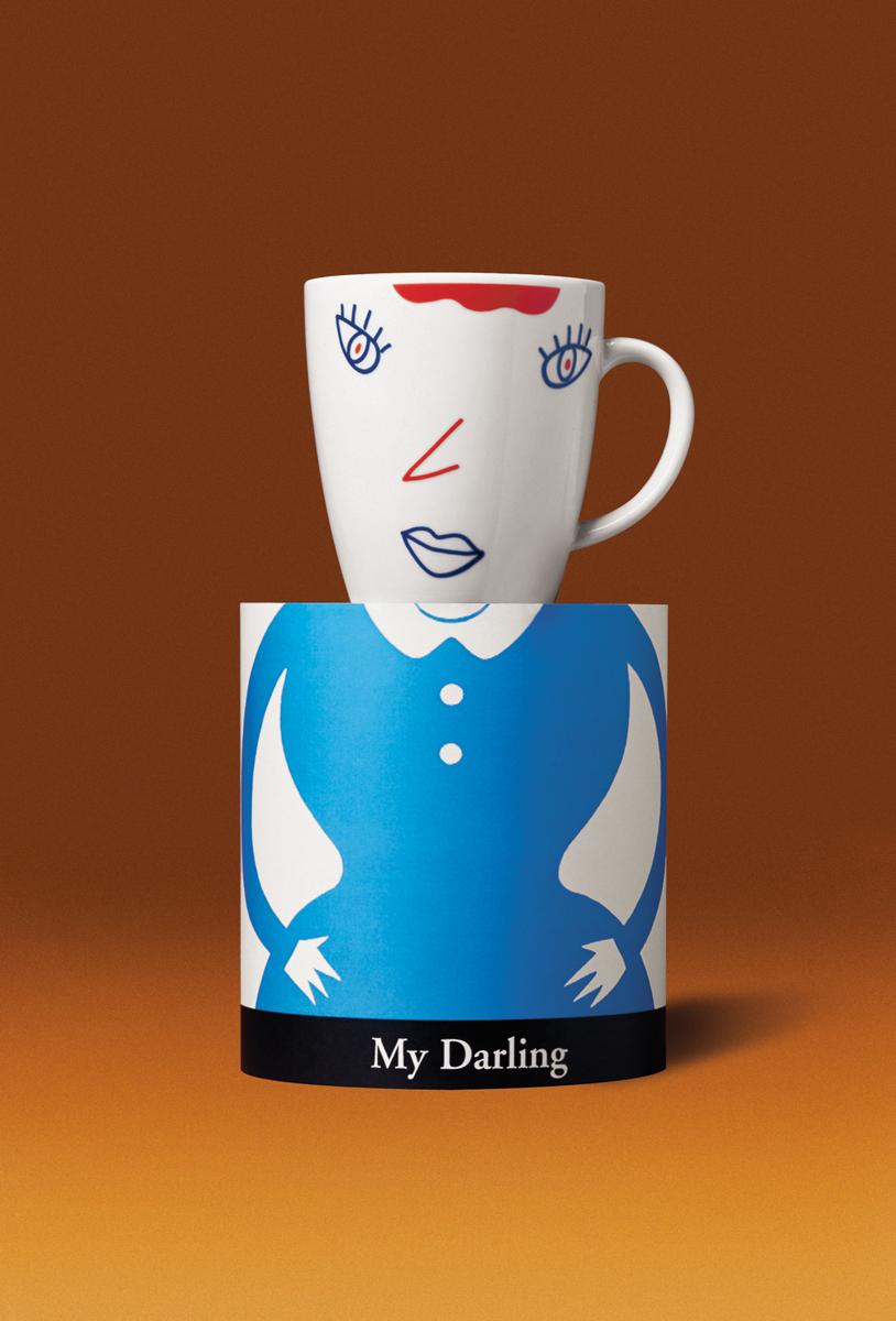 これはドイツのRitzenboff社とのコラボレーション商品です。My Darlingマグカップです。これで飲むティータイムはどんな味がするかな?